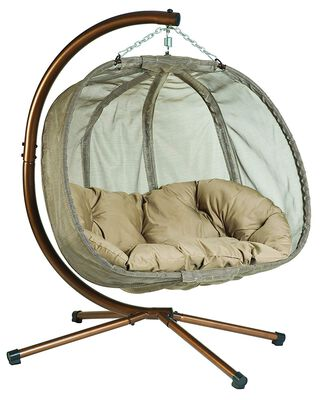 Flower House Hanging Pumpkin Loveseat Chair with Stand, Bark