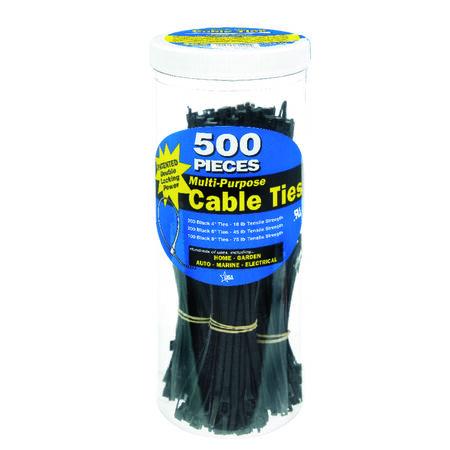 "Gardner Bender DoubleLock 4"" 6"" 8"" in. L Black Cable Tie 500 pk"