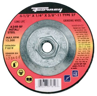 Forney 4-1/2 in. Dia. x 1/4 in. thick x 5/8 in. Metal Grinding Wheel