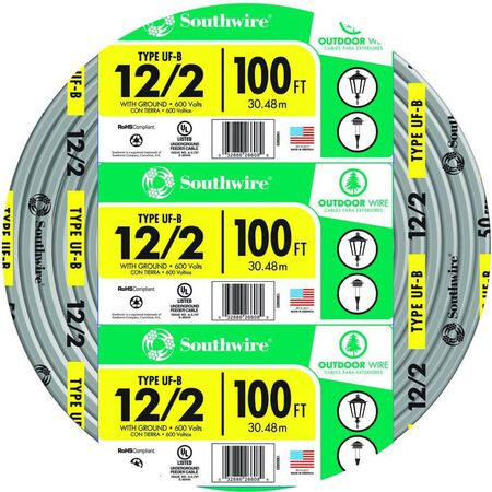 Southwire 100 ft. 12/2 Type UF-B WG Underground Feeder Cable Gray