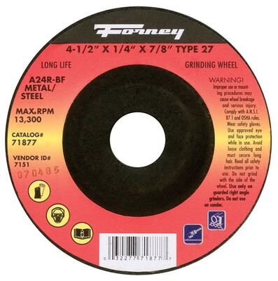 Forney 4-1/2 in. Dia. x 7/8 in. x 1/4 in. thick Metal Grinding Wheel