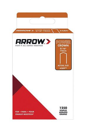 Arrow Fastener #589 PowerCrown Galvanized Steel 9/16 in. L Standard Staples 1250 pk