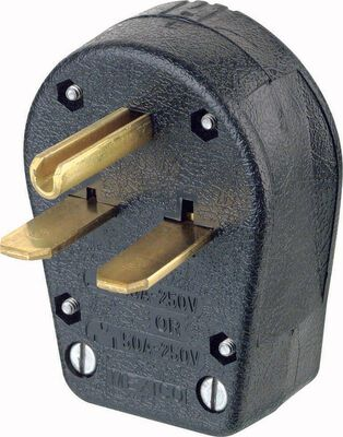 Leviton Commercial Thermoplastic Grounding Straight Blade Plug 6-30P/6-50P 14-6 AWG 2 Pole 3