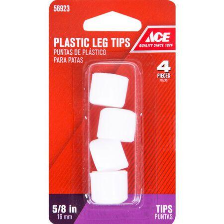 Ace Plastic Round Leg Tip White 5/8 in. W 4 pk