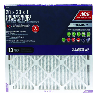 Ace 20 in. L x 20 in. W x 1 in. D Pleated Air Filter 13 MERV