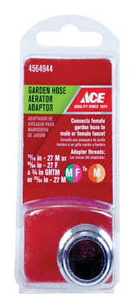 ACE 15/16in. - 27M or 55/64in. - 27F x 3/4in. GHTM Chrome Garden Hose Aerator Adapter
