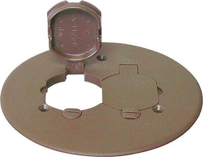 Cantex Round PVC 2 gang Duplex Floor Box Cover For Duplex Receptacle Bronze