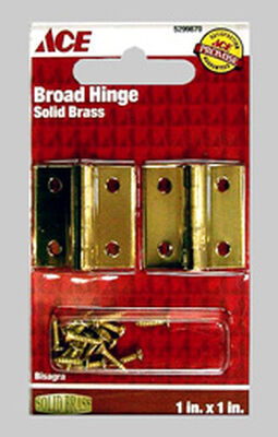 Ace 1 in. L Broad Hinge Polished Brass