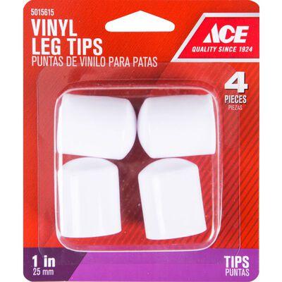 Ace Vinyl Round Leg Tip White 1 in. W 4 pk