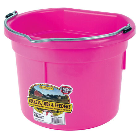 Little Giant 8 qt. Flat Back Bucket Hot Pink