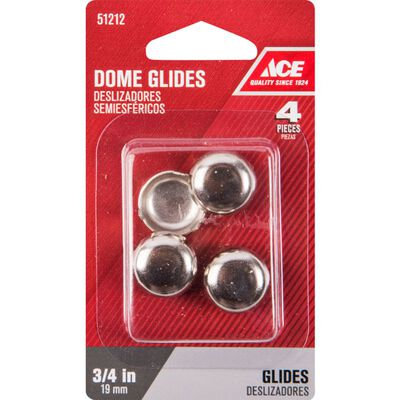 Ace 0.75 in. Dia. x 0.75 in. W Nickel Dome Glide with Nickel Base 4