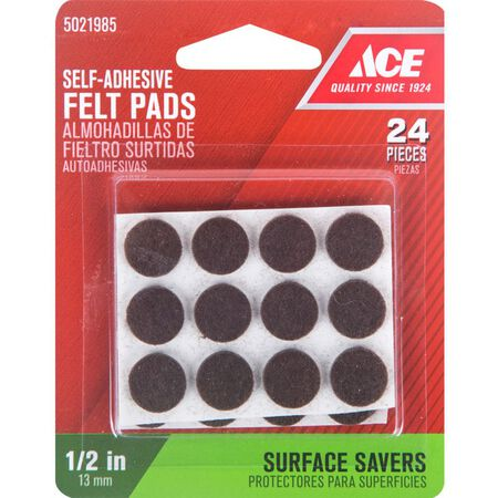 Ace Felt Round Self Adhesive Pad Brown 1/2 in. W 24 pk