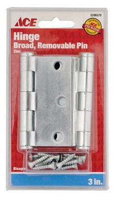 Ace Steel Broad Hinge 3 in. L Zinc 2 pk