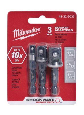 Milwaukee SHOCKWAVE Square 2 in. L Impact Duty Screwdriver Socket Adapter Steel 3 pc.