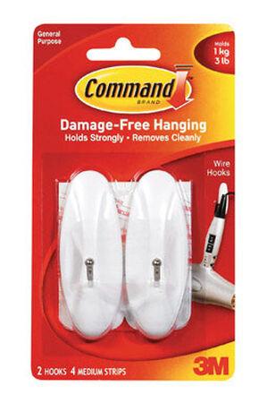 3M Command Medium Wire Hook 3-1/8 in. L Plastic 3 lb. per Hook 2 pk
