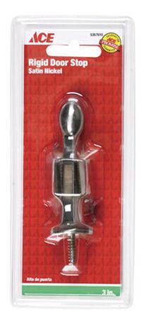 Ace Rigid Door Stop with Holder 3 in. L Satin Nickel