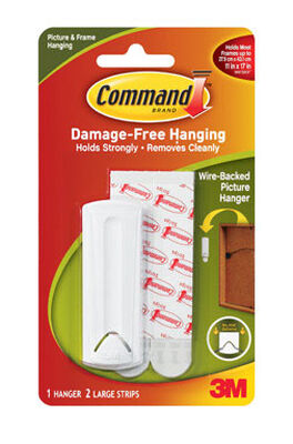 3M Command 5 lb. Wire-Backed Picture Hanger Plastic 1 pk