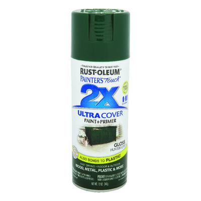 Rust-Oleum Painter's Touch Ultra Cover Hunter Green Gloss 2x Paint+Primer Enamel Spray 12 oz.