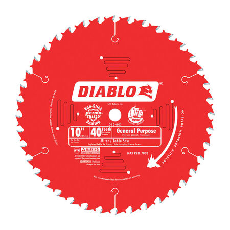 Freud Diablo 10 in. Dia. 40 teeth Carbide Tip Circular Saw Blade For Wood