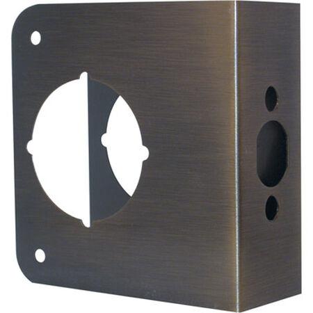 Prime-Line Lock and Door Reinforcer Entry 2.25 in. 4.5 in. x 4.31 in. x 1.75 in. Antique Brass Solid