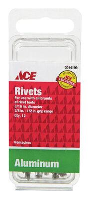Ace 3/16 in. Dia. x 1/2 in. Aluminum Rivets 12 pk