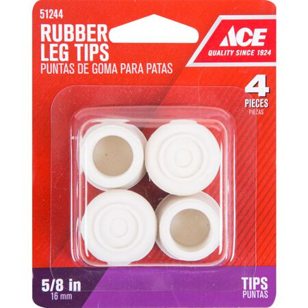 Ace Rubber Round Leg Tip Off-White 5/8 in. W 4 pk