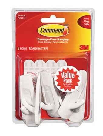 3M Command Medium Utility Hook 3-7/8 in. L Plastic 3 lb. per Hook 6 pk