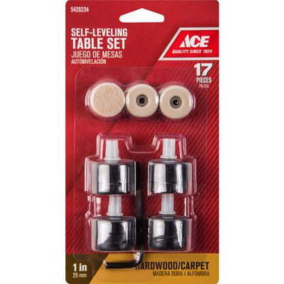Ace Plastic Round Self Leveling Table Pad Set Black 1 in. W 17 pk