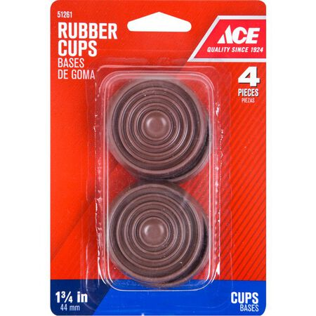 Ace Rubber Round Caster Cup Brown 1-3/4 in. W 4 pk