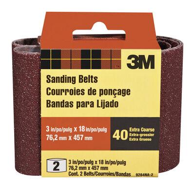 3M Sanding Belt 3 in. W x 18 in. L 40 Grit Extra Coarse 2 pk