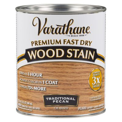 Varathane Premium Fast Dry Semi-Transparent Oil-Based Wood Stain Traditional Pecan 1 qt.