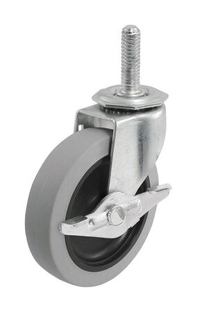 Shepherd Thermoplastic Rubber 3 in. Dia. Swivel Brakes Included Caster Gray 110 lb.