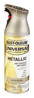 Rust-Oleum Universal Paint & Primer in One Satin Nickel Metallic Metallic Spray 11 oz.