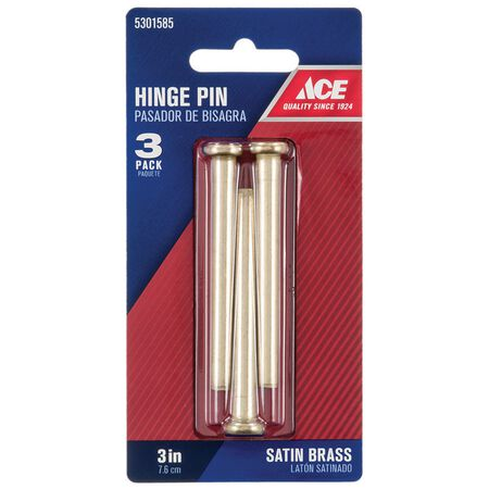 Ace Brass Hinge Pin 3 in. L Satin Brass 3 pk