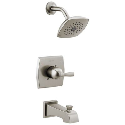 Delta Monitor Flynn 1 Handle Tub and Shower Faucet Stainless Steel Stainless Steel