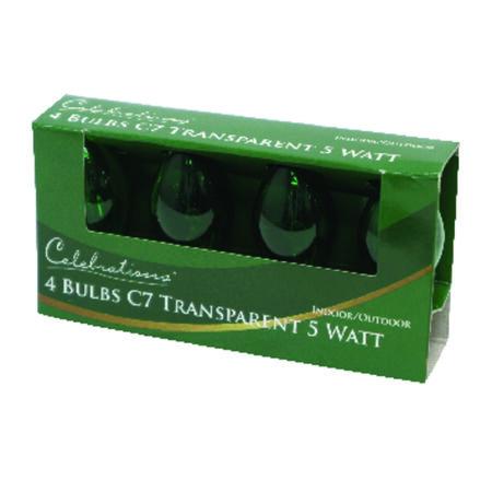 Celebrations Transparent C7 Incandescent Replacement Bulb Green 4 lights