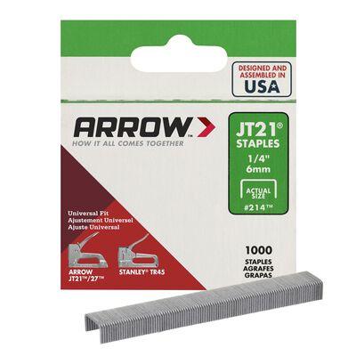 Arrow JT21 Wide Light Duty Staples Gray 1/4 in. L