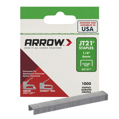 Arrow JT21 Wide Light Duty Staples Gray 1/4 in. L