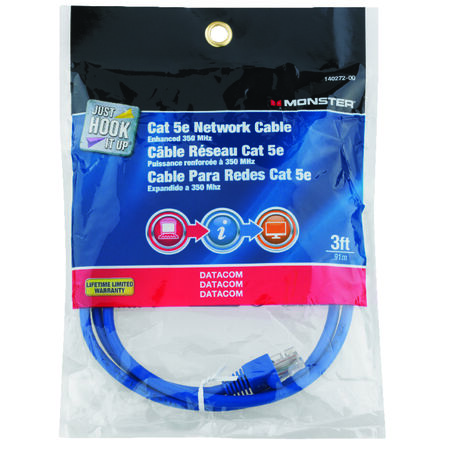 Monster Blue 3 ft. L Category 5E Networking Cable