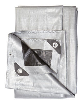 Ace Silver/Black Heavy Duty Tarp 8 ft. W x 10 ft. L