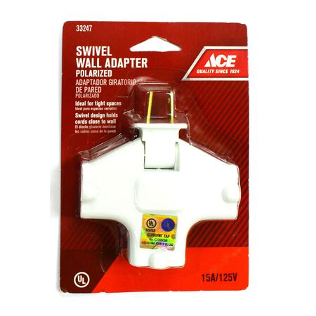 Ace Polarized Swivel Outlet Adapter White 15 amps 125 volts 1 pk