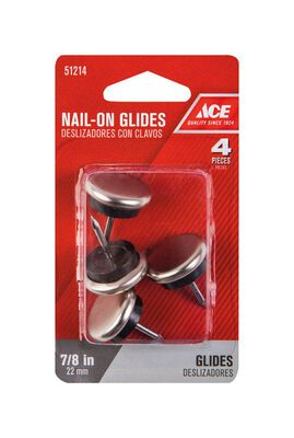 Ace 0.88 in. W x 0.88 in. Dia. Nylon / Nickle Nail-On Glide with Nickel Base 4
