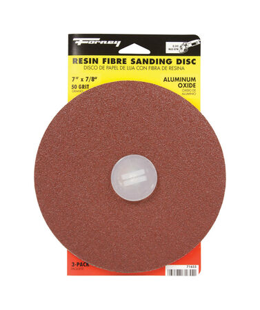 Forney 7 in. Dia. Sanding Disc 50 Grit Adhesive 3 pk