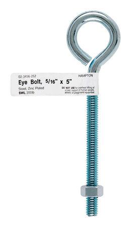 Hampton Zinc Plated Steel Eyebolt 5 in. L