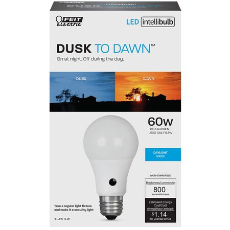 FEIT Electric Intellibulb LED Dusk To Dawn Light Bulb 9.5 watts 800 lumens 5000 K A-Line A19 60