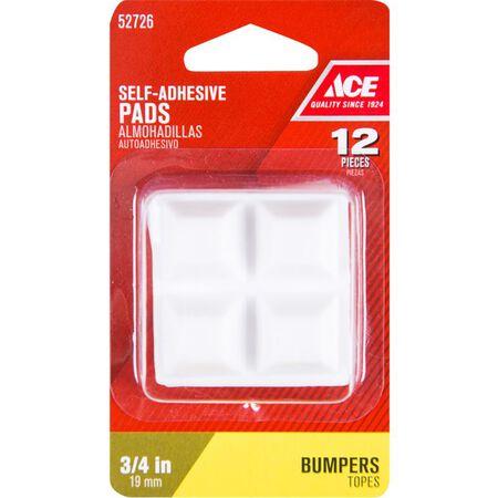 Ace Vinyl Square Bumper Pads White 3/4 in. W x 3/4 in. L 12 pk