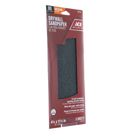 Ace 11-1/4 in. L x 4-1/4 in. W 80 Grit Silicon Carbide Drywall Sanding Sheet 5 pk