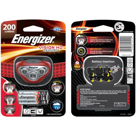 Energizer Vision HD 180 lumens Headlight LED AAA Red