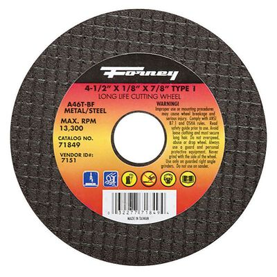 Forney 4-1/2 in. Dia. x 1/8 in. thick x 7/8 in. Metal Cut-Off Wheel