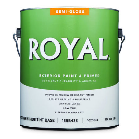 Royal Semi-Gloss Tint Base Mid-Tone Base Acrylic Latex Paint and Primer in One Outdoor 1 gal.